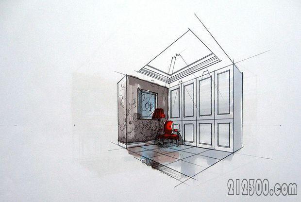 设计师手绘图5 书房区域