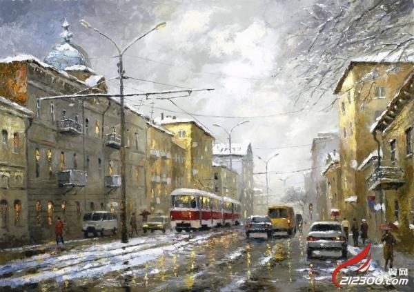 雨天城市风景插画-dmitri