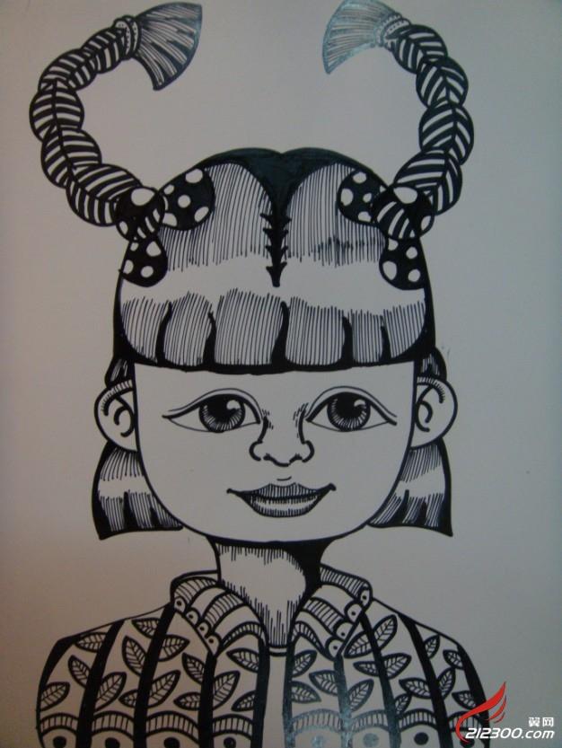 黑白花卉线描装饰画 装饰画黑白线描风景 儿童创意线描装饰画高清图片