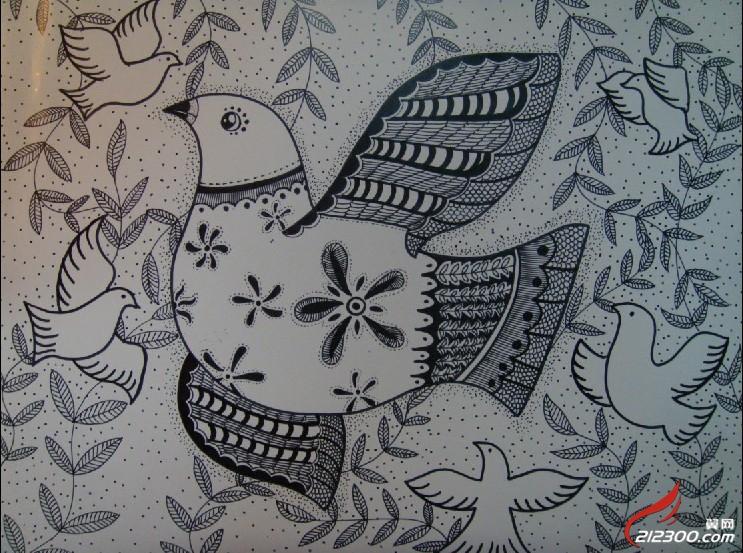 黑白线描装饰画Ⅰ-随笔手绘|书法绘画-丹阳翼网