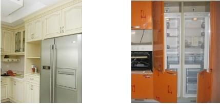 三,嵌入式冰箱,以双开门为主,需要放于橱柜内部,特别要注意散热处理
