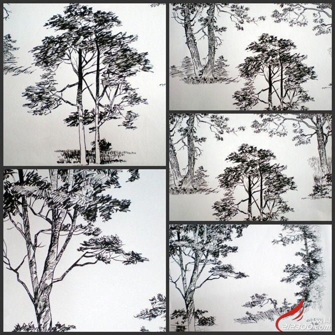 中式婚纱素描手绘