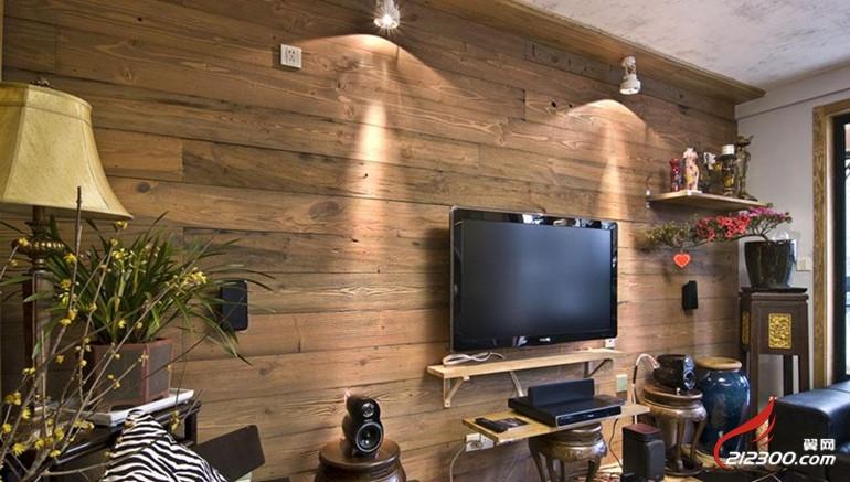家中铺设一款木地板背景墙